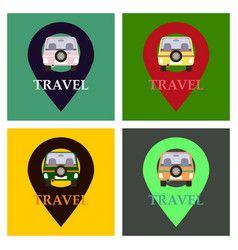 Location icon with car flat style for graphic vector