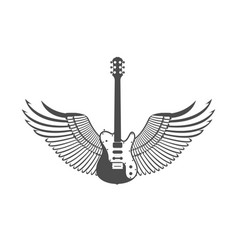 logotype guitar with wings vector image