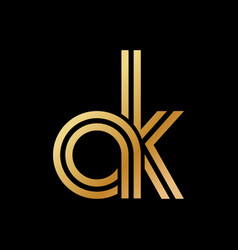 Lowercase letters a and k flat bound design vector