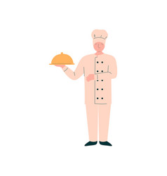 male chef holding metal food platter cloche vector image