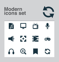 media icons set with display microphone bookmark vector image