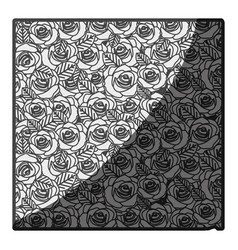 monochrome silhouette pattern with roses and vector image