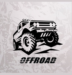 Offroad suv car monochrome template for labels vector