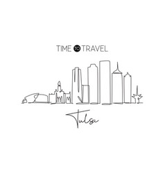 one continuous line drawing tulsa city skyline vector image