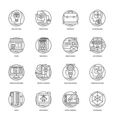 pack of design and development glyph icons vector image