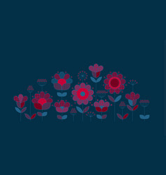 Peasant style floral design elements vector