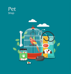Pet shop flat style design vector