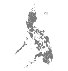 Philippines regions map grey vector
