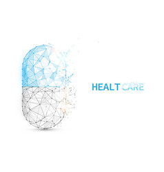 pill capsule icon form lines triangles and particl vector image