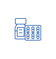 pills and tablets and bottle line icon concept vector image