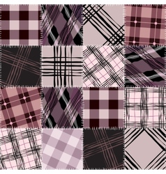 Pink checkered patchwork vector
