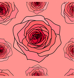 Pink roses seamless pattern vector