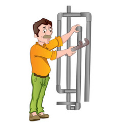 plumber fixing pipes vector image