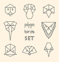 Polygon birds set on beige background vector