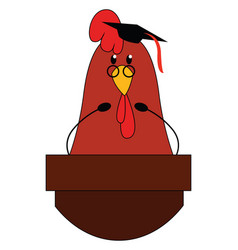 professor chicken on white background vector image