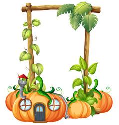 Pumpkin in nature frame vector