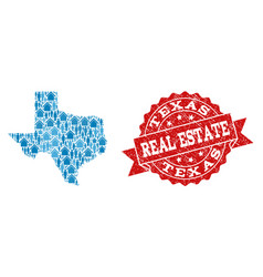 Real estate collage of mosaic map of texas state vector