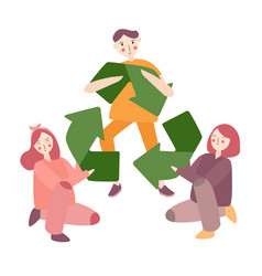 recycling symbol friends together eco environment vector image