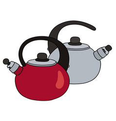 red and steel teapots vector image