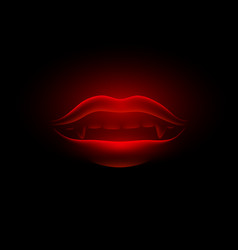 red neon and glowing vampire mouth vector image