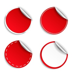 Red Round Stickers vector