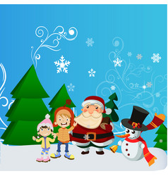 Santa claus with kid in christmas snow scene vector