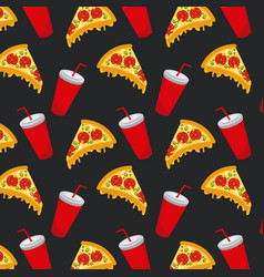 seamless pattern fast food pizza soda cup vector image