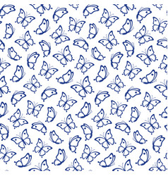 seamless pattern from contours butterflies vector image