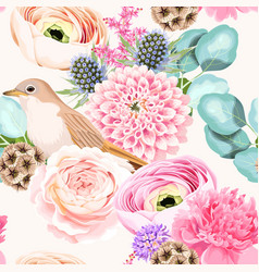 seamless pattern with pink and white flowers vector image