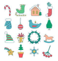 set christmas decorations for home vector image