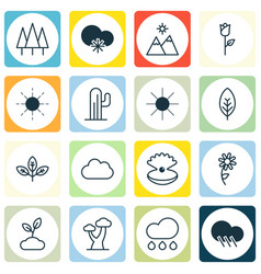 Set of 16 landscape icons includes rain forest vector