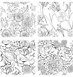 set of monochrome seamless wallpaper vector image vector image
