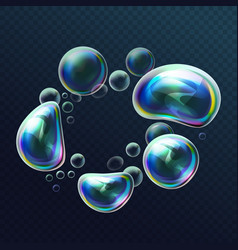 set of realistic transparent colorful soap bubbles vector image