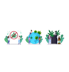 set people holding ban drug sign putting cannabis vector image