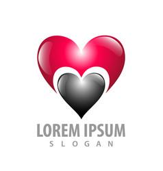 shiny love heart logo concept design symbol vector image