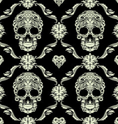 Skull ornamental pattern vector