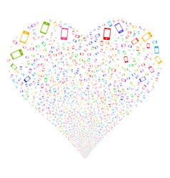 smartphone fireworks heart vector image