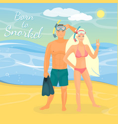 Snorkeling couple flat vector
