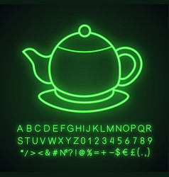 Teapot neon light icon vector