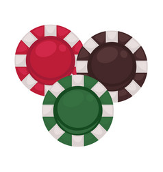 three casino chips in red brown and green colors vector image