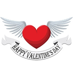 Valentine Heart with wings isolated on white vector image