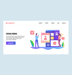 Web site design template social media vector