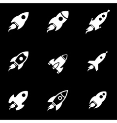 white rocket icon set vector image