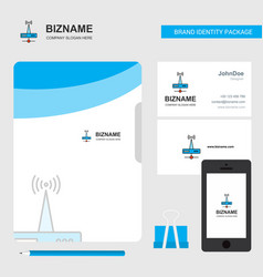 wifi router business logo file cover visiting vector image