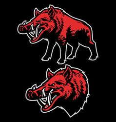 Wild boar mascot set vector