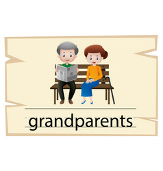wordcard template for word grandparents vector image