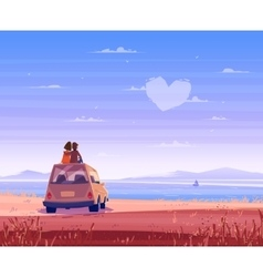 Boy and girl look over the sea Romantic day vector image vector image