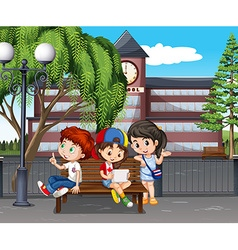 Children hanging out at the school vector image vector image