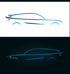 concept design blue car silhouette vector image vector image