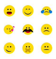 Flat icon expression set of hush cold sweat vector
